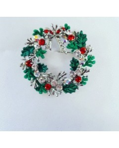 Rhodium Plated Christmas Wreath Brooch B6640